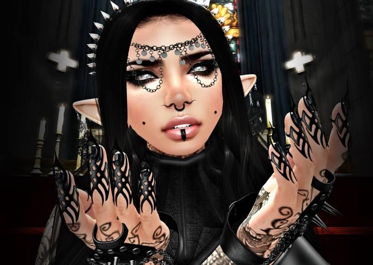 gothic Plastic shirls - close up